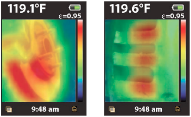 A féktárcsa tipikus melegedése és a fékbetétben keletkező hő a féknyeregnél